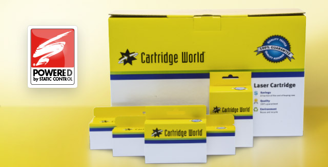 Cartridge World packages of printer components with the Static Control logo on the left