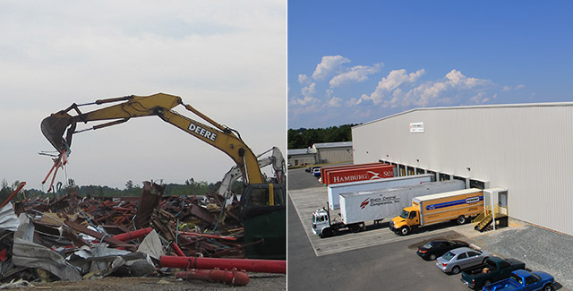 Two images. The one on the left is a piece of heavy machinery cleaning up rubble from the destroyed global distribution center after it was hit by a tornado. The one on the right is the new global distribution center