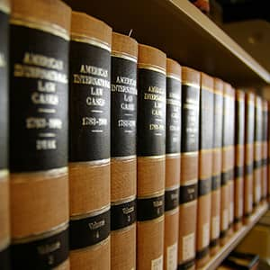 A row of law books on a shelf