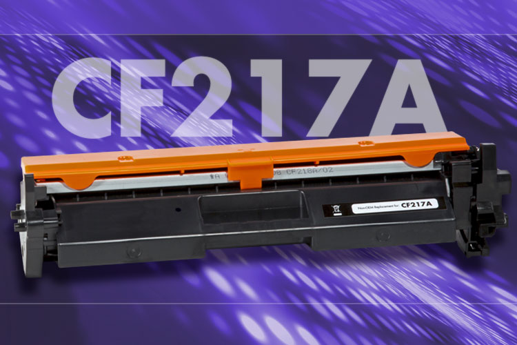A Static Control non-oem replacement CF217A toner cartridge photo in front of a textured purple background with