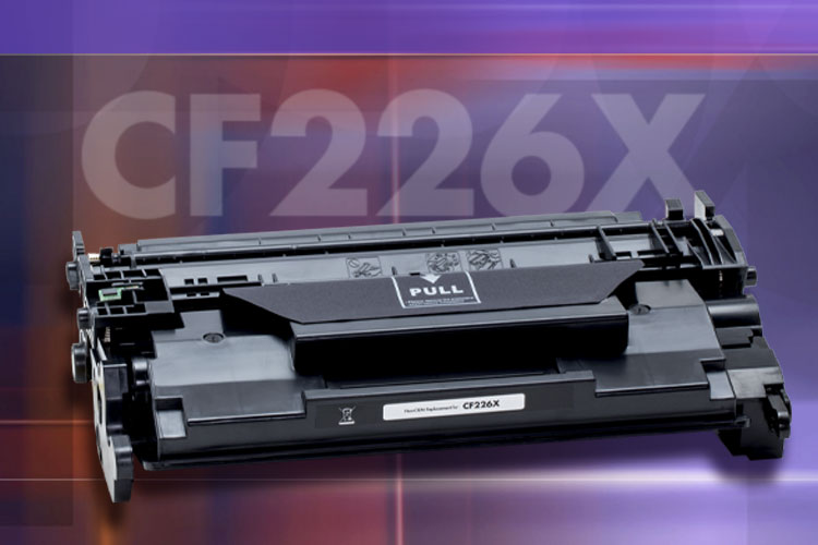 A Static Control non-oem replacement CF217A toner cartridge photo in front of a textured purple and orange background with