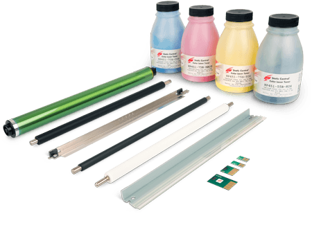 Static Control toner with components from a toner printer including microchips, rollers, a blade and more