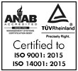 Logo depicting Certification by ANAB and TUV Rheinland to ISO 9001:2015 and ISO:14001:2015 standards