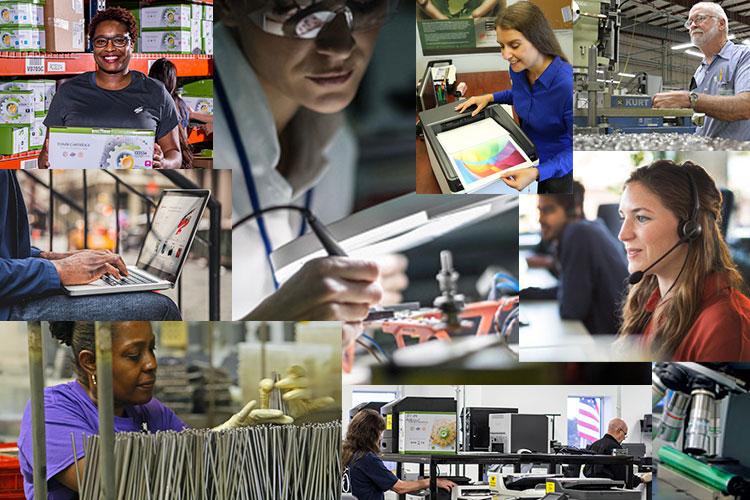 Photo collage of Static Control employees and processes.