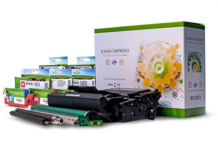 A grouping of Static Control products representative of vertically integrated component manufacturing, matched imaging systems and high quality toner cartridges.
