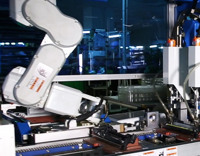 Static Control component manufacturer's automated cartridge assembly using advanced robotics and vertically integrated manufacturing turning imaging systems into finished cartridges.